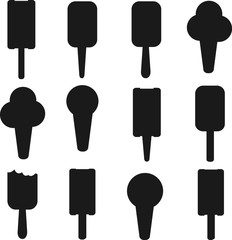 Set of black ice creams silhouettes isolated