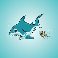 A cartoon shark in the ocean looking fearful as it is attacked by a tiny fish.