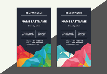 2 Business Card Layouts with Geometric Elements 1