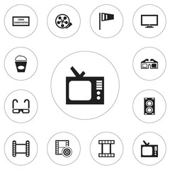Set Of 12 Editable Movie Icons. Includes Symbols Such As Filmstrip, Pennant, Megaphone And More. Can Be Used For Web, Mobile, UI And Infographic Design.