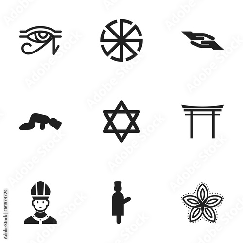Set Of 9 Editable Religion Icons Includes Symbols Such As Christian