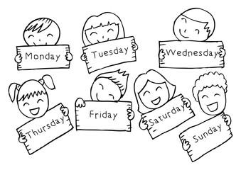 Days of week with children. Cartoon style.