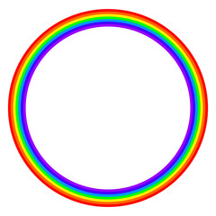 Rainbow colored circle on white background. Ring with rainbow bands in seven main colors of the spectrum and visible light. Red, orange, yellow, green, blue, indigo and violet. Illustration. Vector.