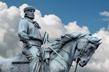 Aluminium Prints Historic monument Giuseppe Garibaldi, the Hero of Two Worlds equestrian statue