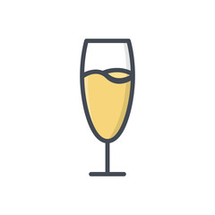 Glass of champagne colored icon