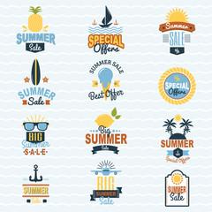 Summer seasonal sale shopping offer logo badge discount vector illustration summertime vacation travel sunny logotype