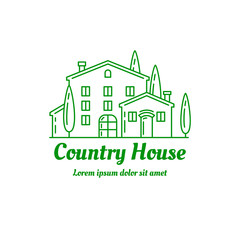 Country house icon design. ?ountryside villa logo template. Line art illustration. EPS 10 vector. Isolated on white.