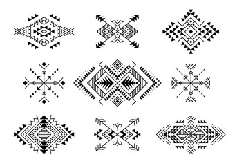 Set of Aztec style ornaments and arrows. American indian ornamental pattern design collection. Tribal decorative templates. Ethnic ornamentation. EPS 10 vector. Isolated on the white background.