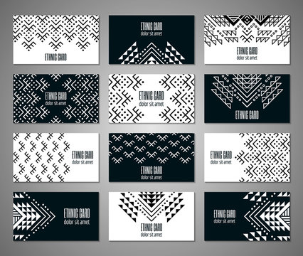 Aztec style black and white business card set. American indian monochrome ornamental pattern design. Ornate blank with ethnic motifs. Tribal decorative template. EPS 10 vector concept.
