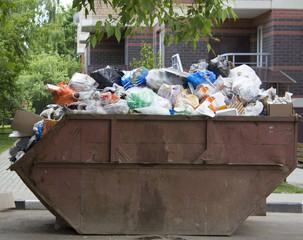 overflowing trashcan