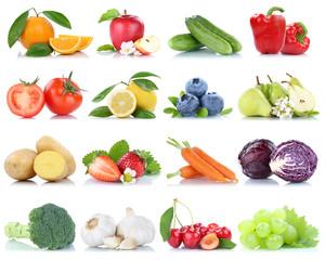 Spoed Foto op Canvas Keuken Obst und Gemüse Früchte Apfel Orange Zitrone Beeren Weintrauben Freisteller freigestellt isoliert