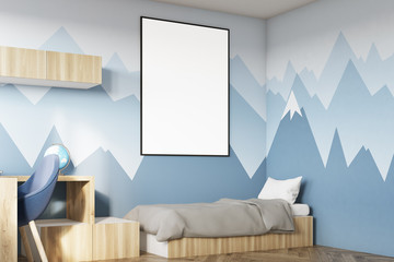 Kids room with poster and mountain side