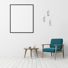 White floor living room, blue armchair