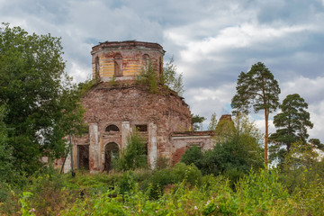 Ruined Church of the Holy virgin (1825-1836) at the village Korotsko. Russia, Novgorod oblast