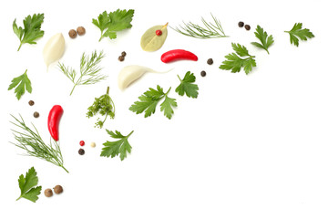 herbs and spices for cooking, onion, garlic and chili pepper isolated on white background. top view
