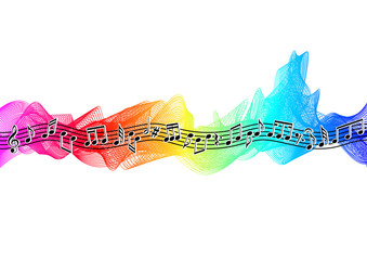 Musical notes on spectrum ribbon