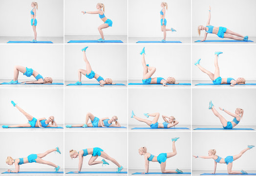 Collage of young woman doing different exercises on light wall background. Legs workout tutorial