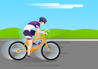 A bicyclist wearing a helmet on an orange bike is driving fast on a country road