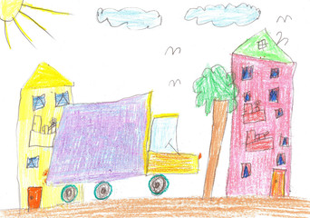 Child's drawing. Car, tree and house