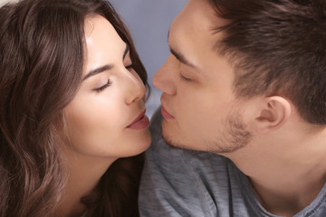 Beautiful young couple, closeup