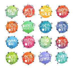 Different shopping tags vector set. Sale banners collection