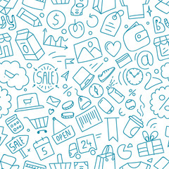 Different web interface doodle silhouettes seamless pattern. Cartoon style sketch illustration vector texture
