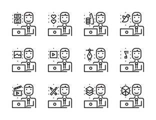Worker man with laptop outline icon set. Creative work and social media. Modern minimalistic style. Pixel perfect thin line icons design. vector illustration