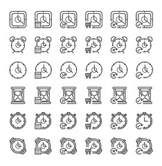 36 Time concept outline icon set. Icon for web and UI  design. Modern minimalistic style. 64x64 Pixel perfect thin line icons design. vector illustration