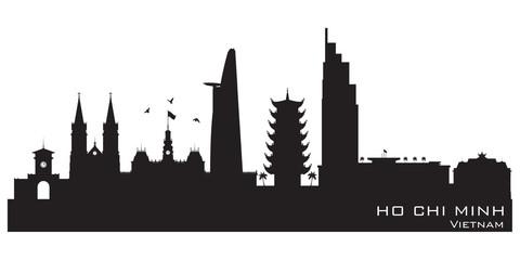 Ho Chi Minh city Vietnam skyline vector silhouette
