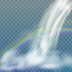 Realistic vector waterfall with clear water, rainbow and bubbles. Natural element for design landscape images. Isolated on transparent background.