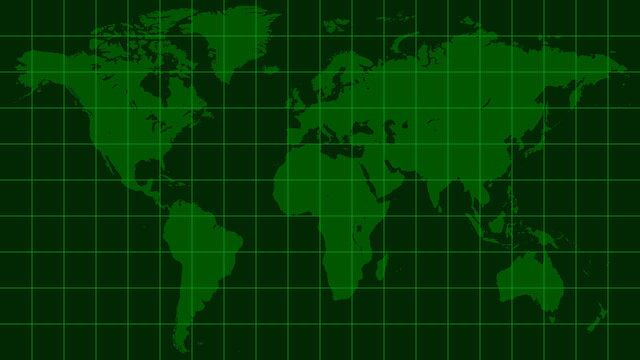 world map earth, dark green radar screen matrix style