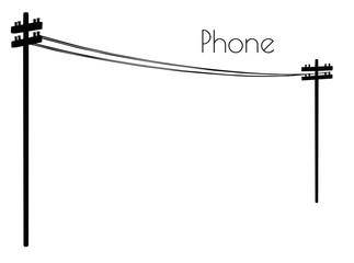 Fototapeta Phone line silhouette on white background obraz