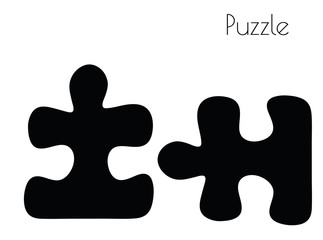 puzzle silhouette on white background
