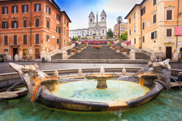 Photo sur Aluminium Rome Spanish steps blurred in vintage style, Rome, Italy,Europe. Rome Spanish Steps (Scalinata della Trinità dei Monti) are a famous landmark and attraction of Rome and Italy.