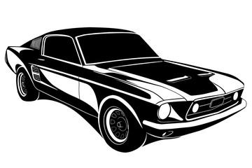Vector illustration of black Retro Car.