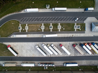 Aerial view of a bus station