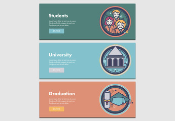 3 Illustrated Education Themed Web Banners 2