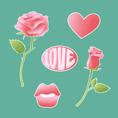 Pink textured vector icons about amorousness and romance. Set of stickers, pins, patches symbols of lovers. Signs badges rose, lips, heart and an inscription love.