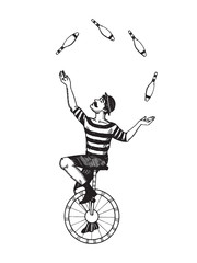 Circus juggler engraving vector