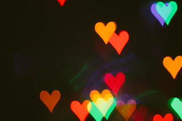Heart-shaped bokeh; multicolor abstract pattern