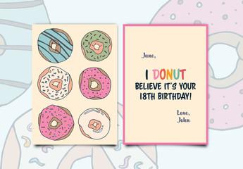 Doughnut-Themed Birthday Card Layout