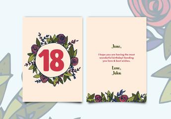 Rose Wreath Birthday Card Layout