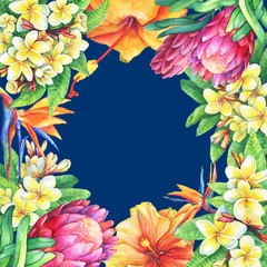 Square frame with branches purple protea, plumeria, strelitzia and hibiscus tropical flowers. Watercolor hand drawn painting illustration on blue background. Element for posters, greeting cards.