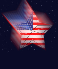 Labor Day USA, falling star, against a dark blue sky, red and white stripes.
