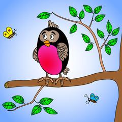 cute cartoon bullfinch bird sitting on a tree branch and two little butterflies
