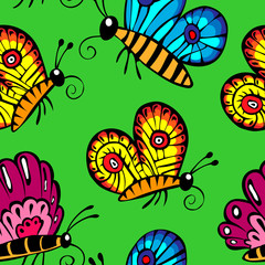 multicolored butterflies. Seamless pattern on a green background