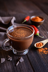 Hot chocolate with red chili pepper