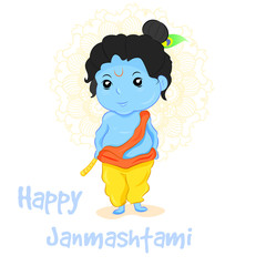 Vector illustration Happy Janmashtami. Indian fest. Krishna.