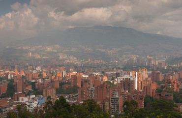 View on partly clouded Medellin, Colombia