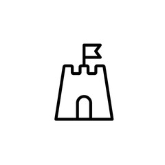 sandcastle clipart black and white. sandcastle icon thin line black on white background clipart and